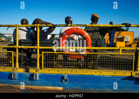 Ferry to cross the Chobe River. From Victoria Falls is possible to visit the nearby Botswana. Specifically Chobe - Stock Photo