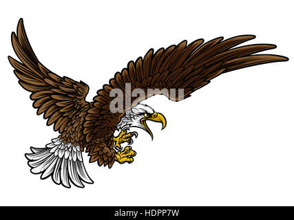 A bald or American eagle swooping in profile with claws or talons outstretched - Stock Photo