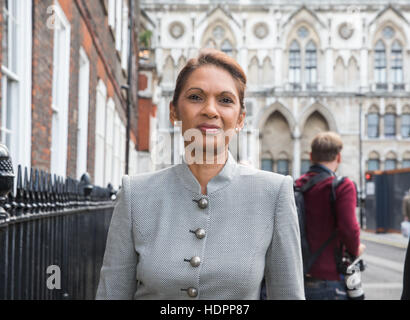 SCM Private co-founder Gina Miller leaves the High Court during her challenge of the Brexit decision by the Government - Stock Photo