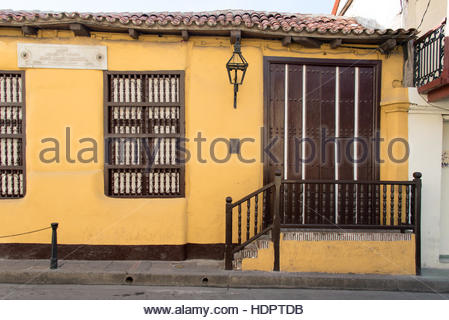 Jose Maria Heredia y Heredia natal house exterior details. He was a famous independentist Cuban poet. Colonial house - Stock Photo