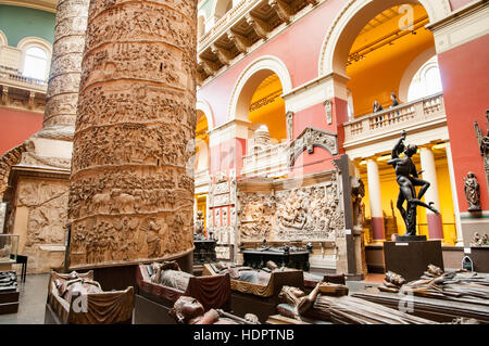 The Cast Courts in the Victoria and Albert Museum, London, England, UK - Stock Photo