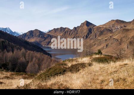 Val Piora, Switzerland: Lakes Ritom, Cadagno, Tom in the autumn. - Stock Photo