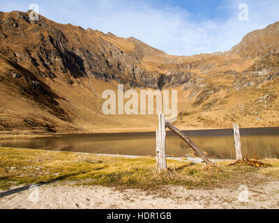 Val Piora, Switzerland: Lakes Ritom, Cadagno, Tom in the autumn. - Stock Photo