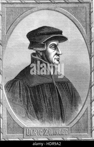 ULRICH (HULDRYCH) ZWINGLI (1484-1531)  Swiss Protestant leader during the Reformation. Engraving from Richard Rolt's - Stock Photo