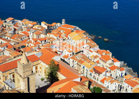 Vew of Cefalu from La Rocca, Cefalu, Sicily, Italy, Europe - Stock Photo