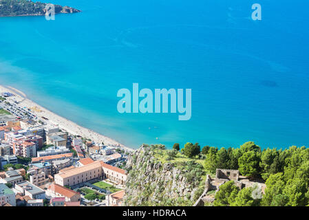 Town beach and cliff La Rocca view, Cefalu, Sicily, Italy, Europe - Stock Photo