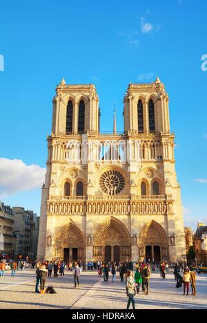 PARIS - NOVEMBER 2: Notre Dame de Paris cathedral on November 2, 2016 in Paris, France. It's the finest example - Stock Photo