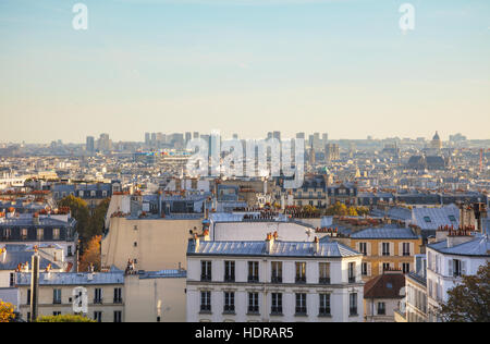 Aerial overview of Paris as seen from Monmartre Butte - Stock Photo