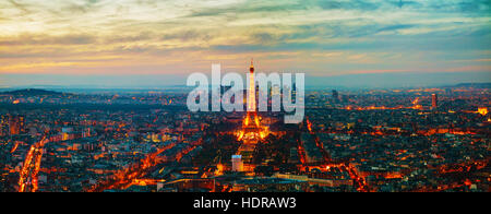 PARIS - NOVEMBER 1: Cityscape with the Eiffel tower aerial view on November 1, 2016 in Paris, France. - Stock Photo