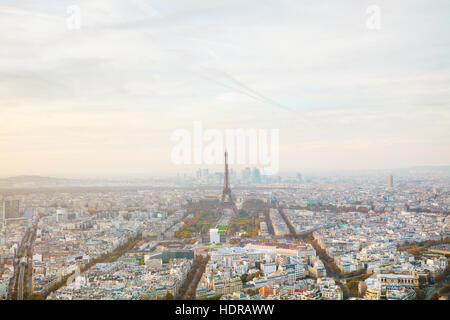 Aerial overview of Paris with the Eiffel tower - Stock Photo