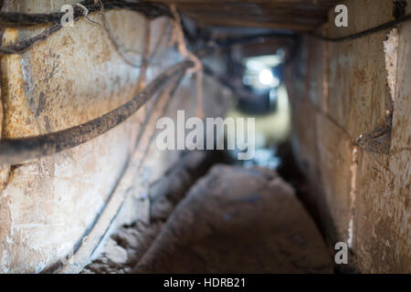Inside a small tunnel in southern Gaza, used to smuggle men and goods in from Egypt. - Stock Photo
