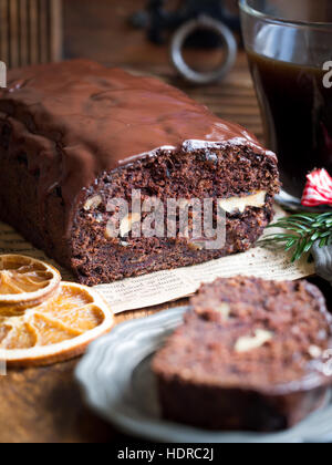 Gluten-free gingerbread made with green banana flour, dates and nuts. - Stock Photo