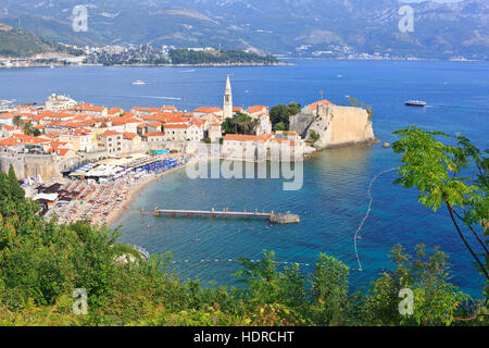Panoramic view of the old town of Budva, Montenegro - Stock Photo