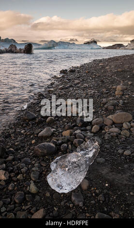 Icebergs on shore of Jokulsaron, Iceland - Stock Photo