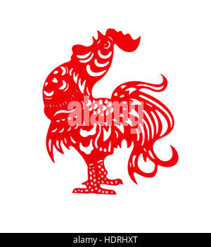 red flat paper-cut on white as a symbol of Chinese New Year of the Rooster 2017 - Stock Photo