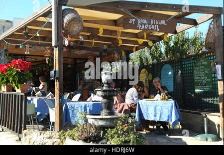 St Pauls Pillar Tavern, outside the historic St Pauls Pillar archaeology site in Kato paphos, Paphos, Republic of - Stock Photo