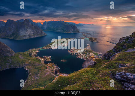 Norway. View from Reinebringen at Lofoten Islands, Norway. - Stock Photo