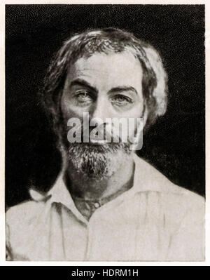 Walt Whitman (1819-1892) American poet and humanist around the time he self-published his collection of poetry 'Leaves - Stock Photo
