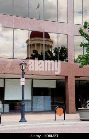Reflection of Old State Capitol in Springfield, Sangamon County, Illinois, USA - Stock Photo