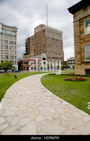Myers Building viewed from Old State Capitol, Springfield, Sangamon County, Illinois, USA - Stock Photo