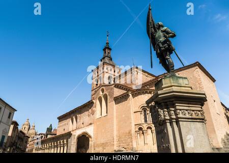 San Martin Church and Juan Bravo statue, Romanic style construction; Segovia, Castilla Leon, Spain - Stock Photo