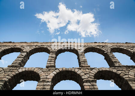 Segovia's Aqueduct is one of the architectural symbols of Spain, built in the 2nd Century A.D; Segovia city, Castilla - Stock Photo