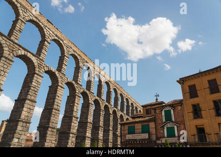 Segovia's Aqueduct, one of the architectural symbols of Spain, built in the 2nd Century A.D; Segovia city, Castilla - Stock Photo