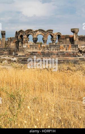 Ruins of Zvartnots Cathedral; Vagharshapat, Armavir Province, Armenia - Stock Photo