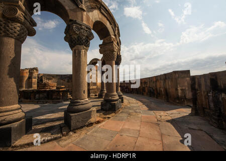 Reconstructed arches and columns of Zvartnots Cathedral; Armavir Province, Armenia - Stock Photo