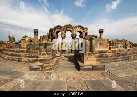 Reconstructed arches and columns of Zvartnots Cathedral; Vagharshapat, Armavir Province, Armenia - Stock Photo
