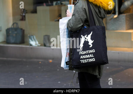 Southport, Merseyside, UK. 24th November, 2018. Vegan Woman in town centre against science, medicine, animal welfare, - Stock Photo