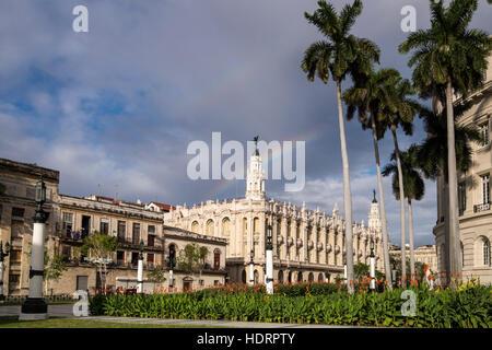 Rainbow over the Gran Teatro de La Habana, theatre, theater, La Havana, Cuba. - Stock Photo