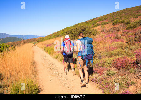 RABANAL, SPAIN - AUGUST, 05: Pilgrimns along the way of St. James on August 05, 2016 - Stock Photo