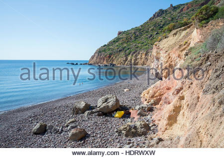 Valle Muria beach,  Lipari, Aeolian Islands, UNESCO World Heritage Site, Sicily, Italy, Mediterranean, Europe - Stock Photo