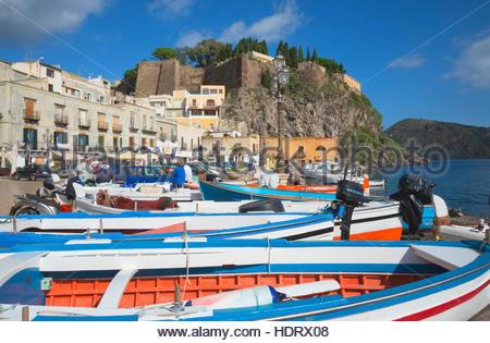 Fishing boats at Marina Corta, Lipari Town, Lipari Island, Aeolian Islands, UNESCO World Heritage Site, Sicily, - Stock Photo