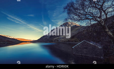 Scenic View over Llyn Ogwen Lake - Stock Photo