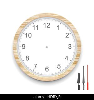 blank wooden clock face isolated on white - Stock Photo