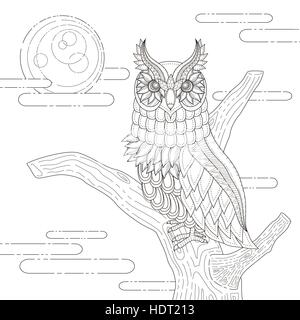 Cute Zentangle Abstract Owl Lovely Coloring Page Design In Exquisite Style
