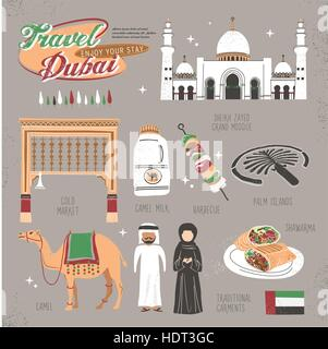 travel concept of Dubai in lovely flat style - Stock Photo