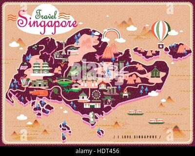 Singapore travel map with lovely attractions in flat design - Stock Photo