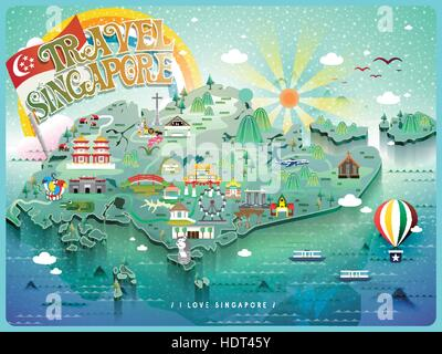 attractive Singapore travel map with colorful attractions icon - Stock Photo
