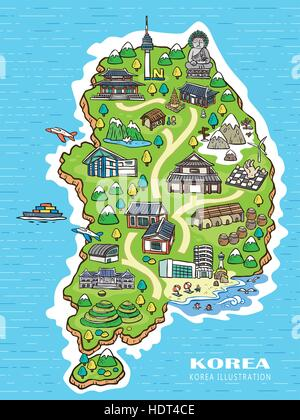 lovely Korea travel concept map in hand drawn style - Stock Photo