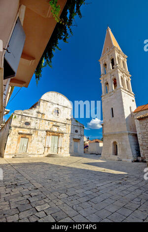 Stari Grad on Hvar island church square view, Dalmatia, Croatia - Stock Photo
