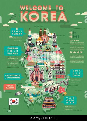 lovely South Korea travel map in flat style Stock Vector Art
