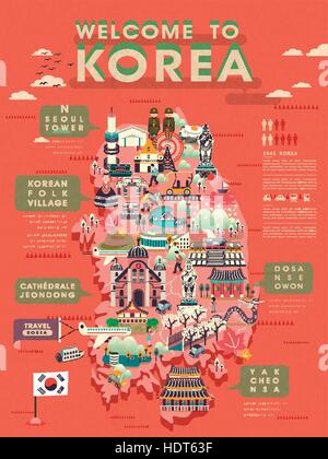 lovely South Korea travel map with abundant attractions - Stock Photo