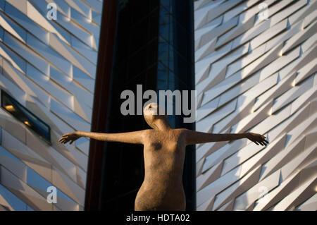 Rowan Gillespie's sculpture Titanica in front of the Titanic museum in Belfast, Northern Ireland United Kingdom - Stock Photo