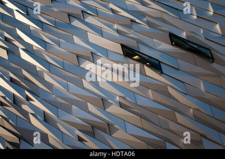 Titanic Belfast museum and Visitors Centre, Titanic Quarter, Belfast, Northern Ireland, UK. The building is clad - Stock Photo