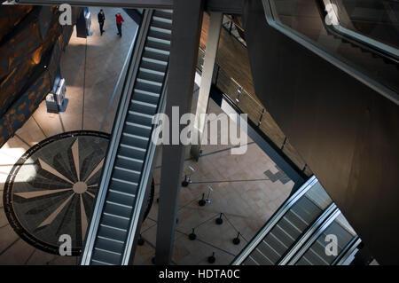 Inside Titanic Belfast museum and Visitors Centre, Titanic Quarter, Belfast, Northern Ireland, UK. Titanic Belfast - Stock Photo