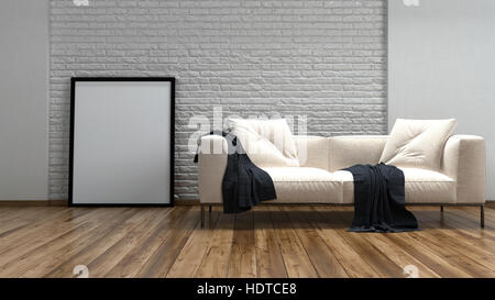Modern Cream Sofa Against A Blank Wall With Lots Of Space