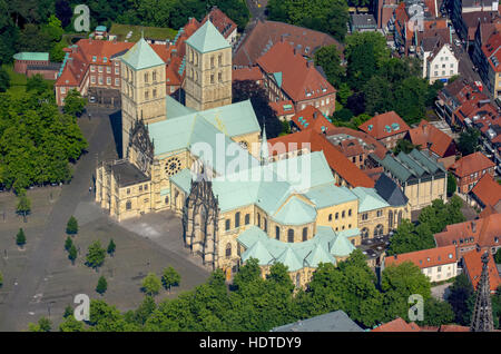 Aerial photograph, St. Paul's Cathedral, Cathedral Square, city centre, Münster, Münsterland, North Rhine-Westphalia, - Stock Photo